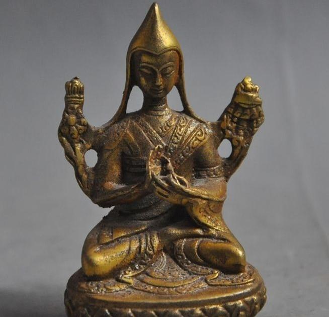 China Tibetan Buddhism Bronze Gilt Seat Lotus Je Tsongkhapa Buddha Statue