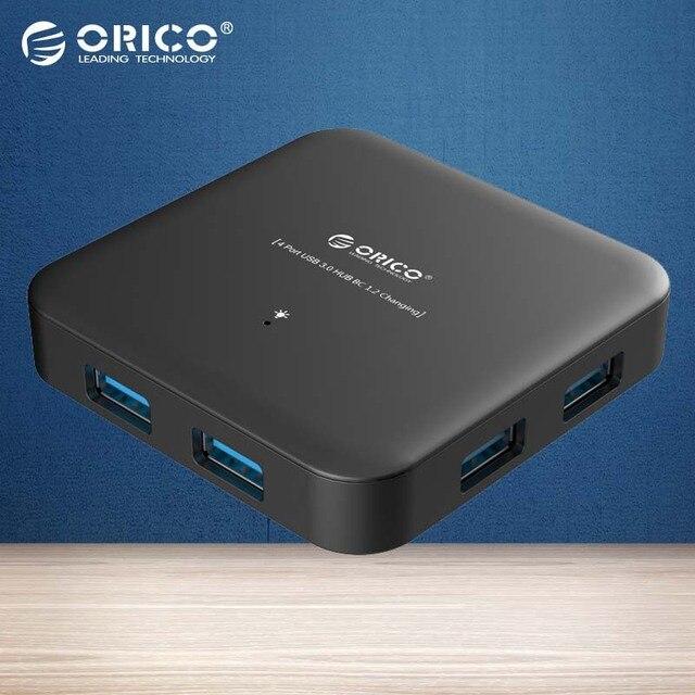 ORICO ABS 4 Puertos USB3.0 Super Speed USB 3.0 HUB Soporte BC1.2 Smart HUB de Carga con 12 V Adaptador de Corriente-NEGRO (U3BCH4-BK)