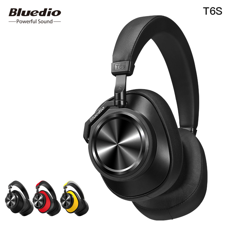 Bluedio T6S Bluetooth Headphones Active Noise Cancelling  Wireless Headset for phones and music with voice control ems hips trainer