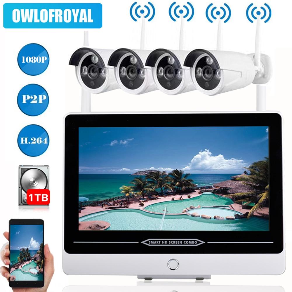 4CH-Wireless-NVR-Kit-1080P-13-LCD-Monitor-IR-Night-Vision-Waterproof-2MP-Security-CCTV-IP