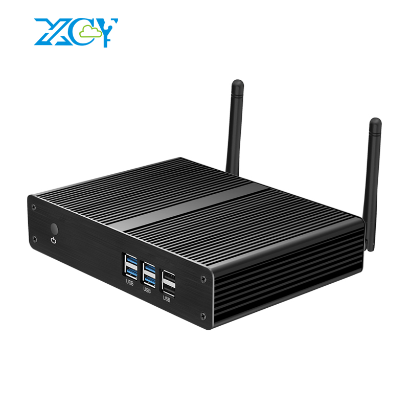 XCY Fanless Mini PC Intel Core i3 7100U 6100U Windows 10 300M WiFi Gigabit Ethernet HDMI
