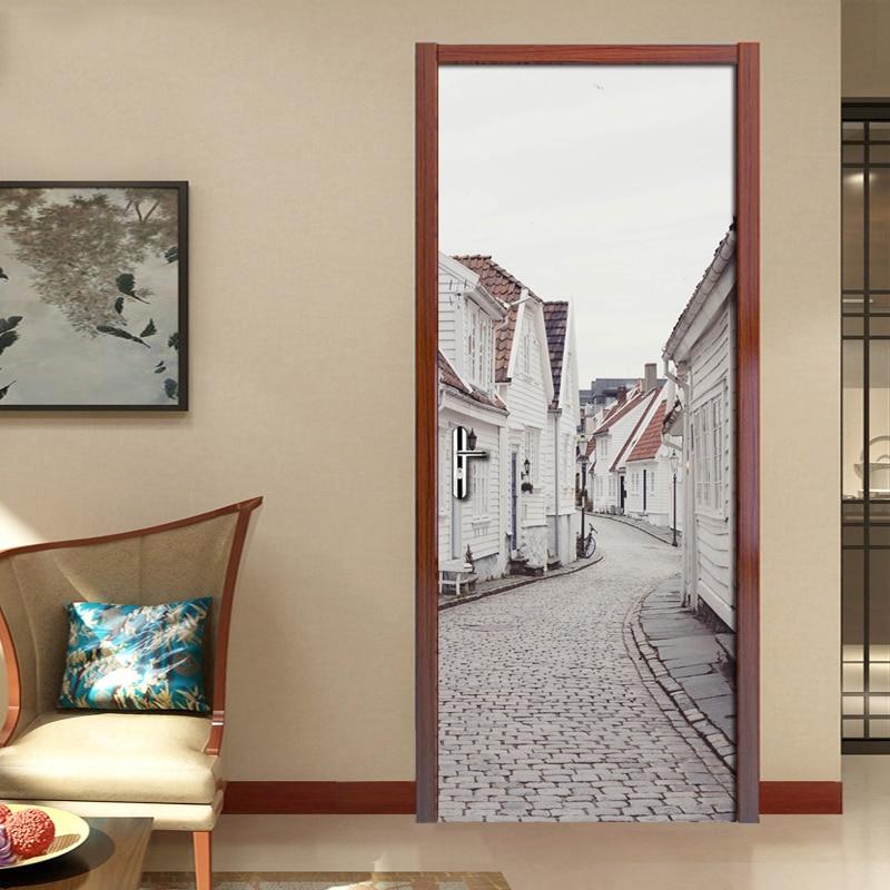 European Style White House Street View Mural 3D Photo Wallpaper Living Room Bedroom Door Stickers Mural Self-adhesive Waterproof