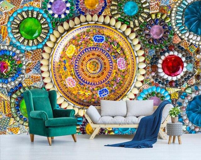 Interieur Slaapkamer Behang : Custom behang voor muren d vintage bohemian jade