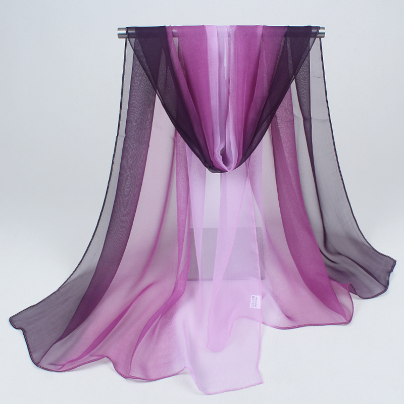 hijab 2019 여성 스카프 패션과 화려한 조커 순수한 색상 시폰 새로운 들어 갔어 스카프 비치 타올 그라디언트 도매 FZ032