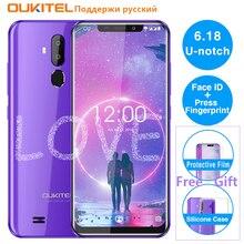 """Oukitel c12 mt6580, telefone celular, tela 6.18 """"android 8.1, quad core, 2g ram, 16g rom, impressão digital, 3g identificação facial do smartphone de 3300mah"""