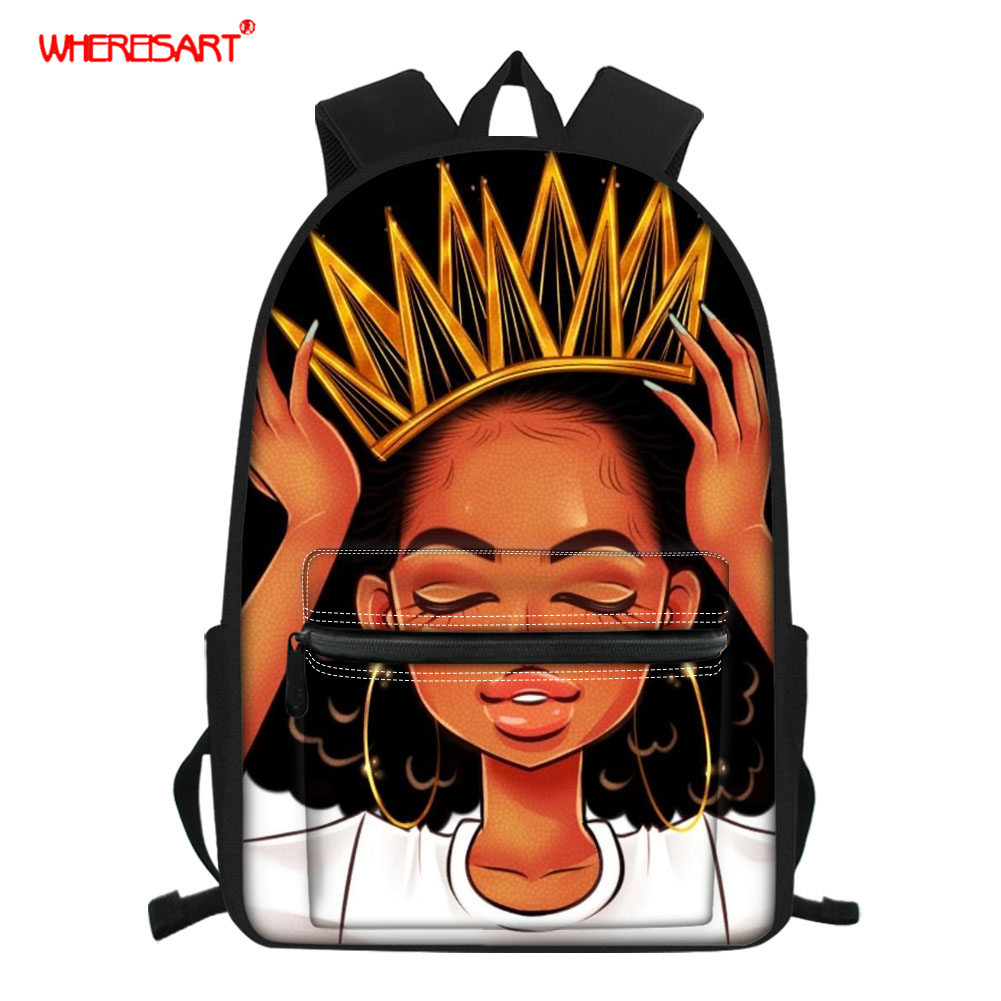 WHEREISART School Bag Afro Girls Black Queen School Backpack For Teenager Girls Orthopedic Kids Schoolbag African Bookbags