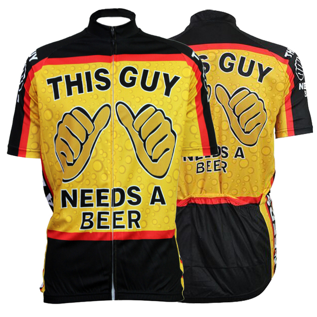 Hot Sale The Guy Need A Beer Breathable Cycling Jersey Mens Mtb Short Anti-sweat Bicycle Clothing Quick Dry Polyester