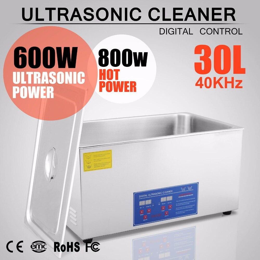 110 V 600 W 30L Grande Capacité Nettoyeur À Ultrasons En Acier Inoxydable Appareil De Nettoyage avec Maille Panier