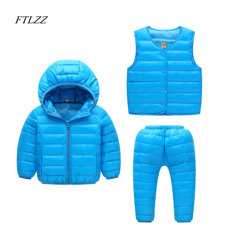 Baby Girls Boys Clothes Sets Winter Children Jacket Down Hooded Coat + Vest + Pants Kids Warm Thick Outdoor Suits 3pcs/set newborn boys girls winter warm down jacket suit set thick coat overalls suits baby clothes set kids hooded jacket with scarf