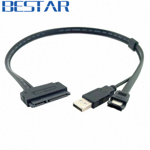 2.5 inch Hard Disk Drive cable HDD 2.5 SATA 22Pin TO Esata Data + USB Powered Cable 50cm 0.5m 1.5ft sata hard drive data cable orange 35cm