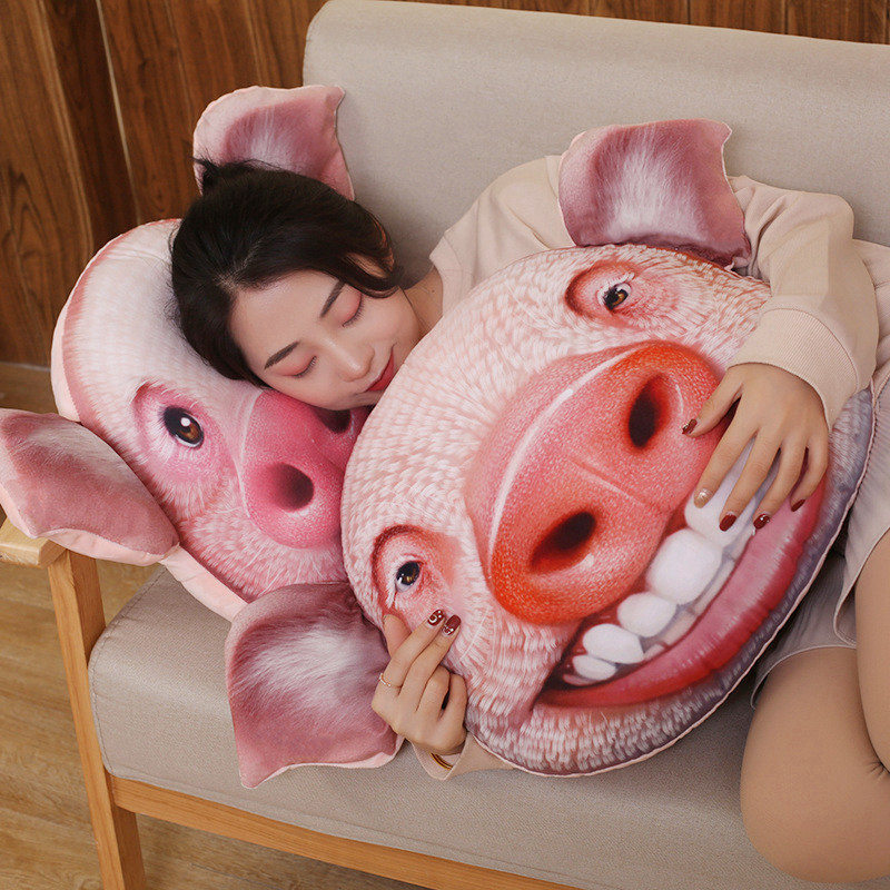 Funny Simulation Pig Plush Toy 3D Printing Stuffed Animal Piggy Plush Pillow Stuffed Cartoon Cushion Kids Doll Home Decro Gift