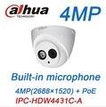 4MP Dahua Ip-камера PoE Встроенный микрофон IPC-HDW4431C-A ИК безопасности Купольная Камера заменить HDW4421C-A onvif камеры видеонаблюдения