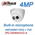 Dahua 4mp câmera ip poe microfone embutido ipc-hdw4431c-a substituir hdw4421c-a onvif cctv câmera ir cúpula de câmera de segurança