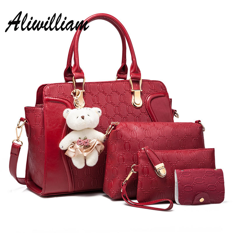 4 PCS Set Vintage Women Composite Bag Set Luxury Brand Female Leather Shoulder Bags Ladies Beer