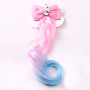 New Girls Lovely Gradient Colorful Wigs Bow Hairpins Princess Hair Ornament Headband Hair Clips Barrettes Kids Hair Accessories