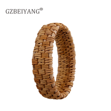 GZBEIYANG New handmade Vietnamese bamboo and rattan green bracelets jewelry personality ethnic womens bangle gifts