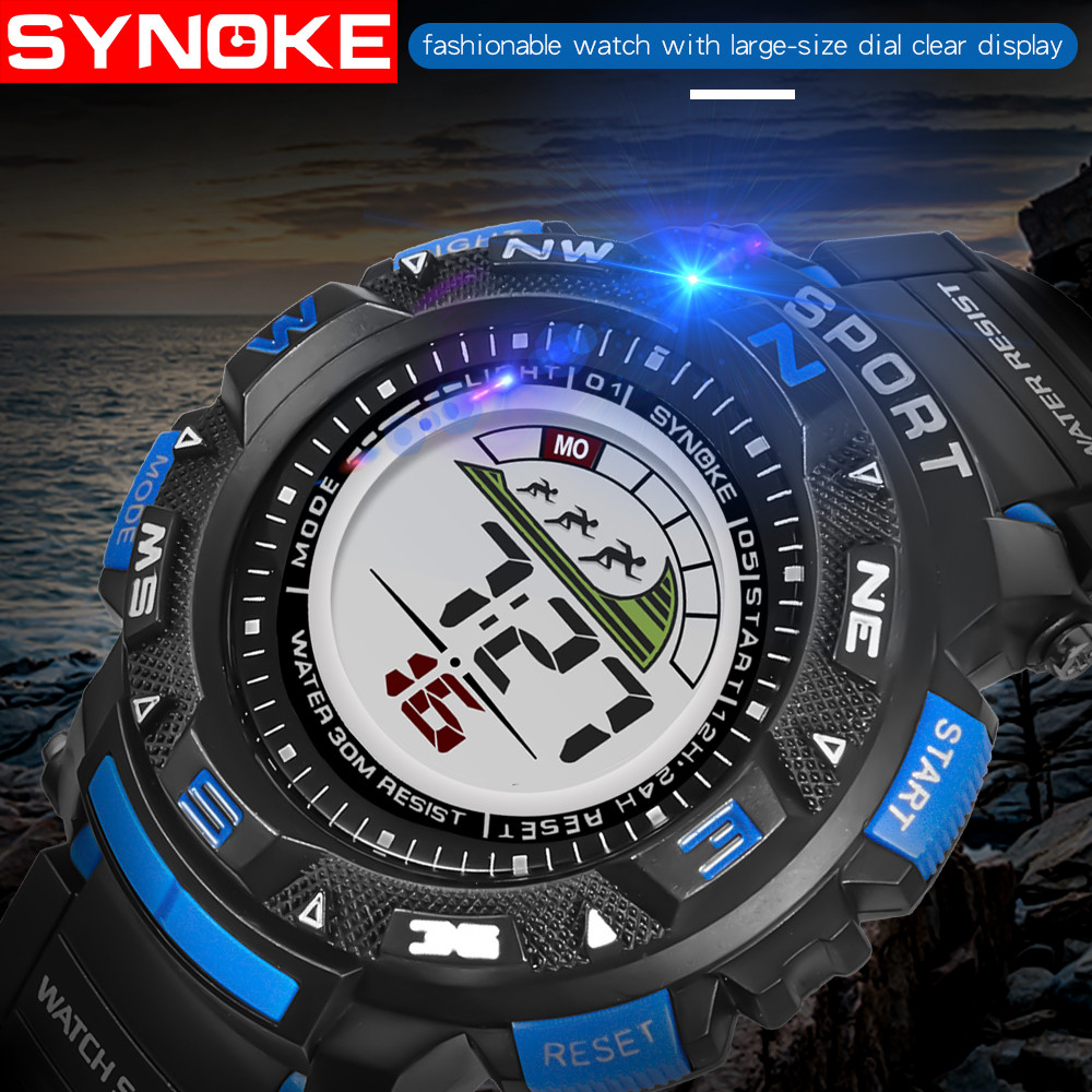 Watches Fashion relogio SYNOKE Sport Watch Watch Men relogio digital Clock 30M Waterproof Alarm montre homme Digital Watch #F