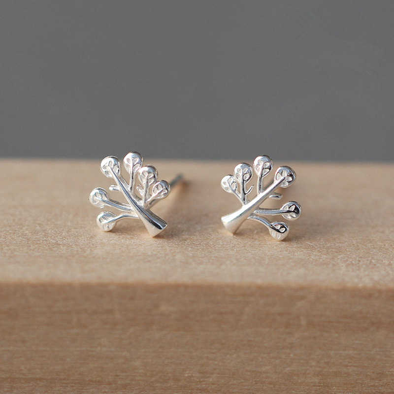 100% 925 Sterling Silver Tree Leaf Stud Earrings For Women Gift Sterling-silver-jewelry Pendientes Mujer Female
