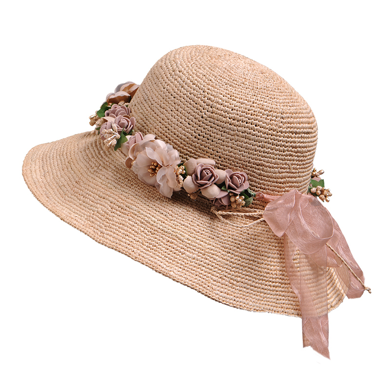 Female Summer Fashion Foldable Bucket Hats Wome Beach Wide Brim Sun Hat Lady Top Quality Hand Made Raffia Straw Hat