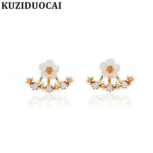 42d43a5f3 Kuziduocai New Fashion Jewelry Neckband Rhinestones Shell Daisy Flowers  Romantic Stud Earrings For Women Brincos Girl Gift E-88