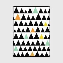 Модный коврик в скандинавском стиле с геометрическими треугольниками для двери/кухни, коврик для гостиной, спальни, прикроватной кровати, декоративный ковер, черный, зеленый, желтый