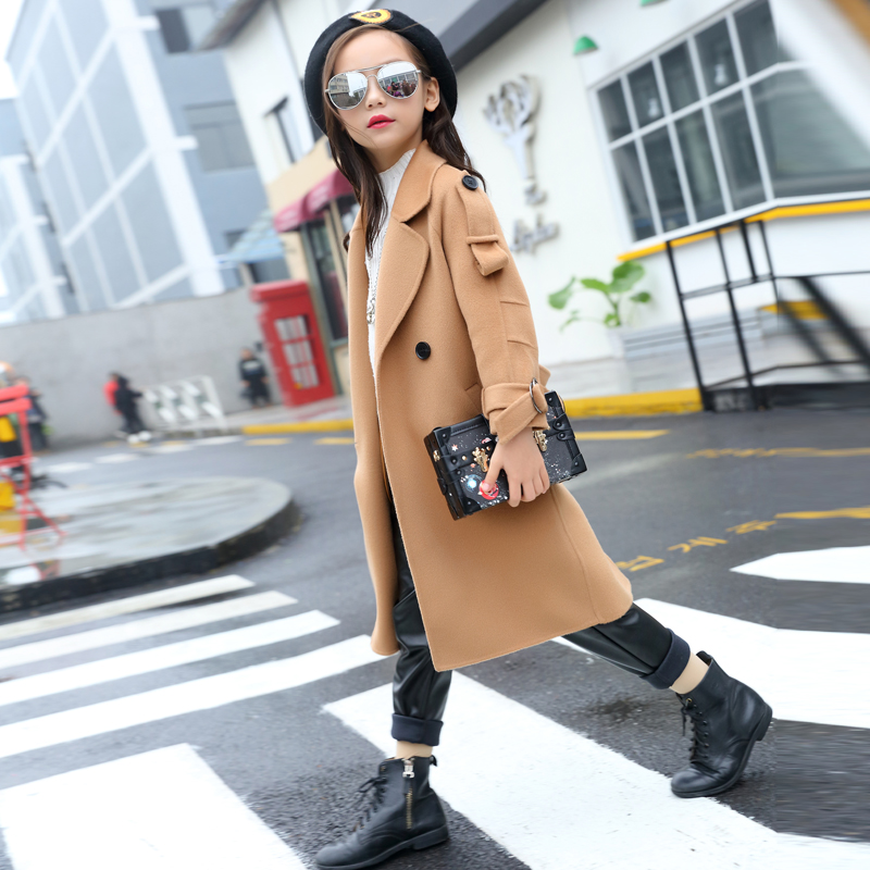 Winter Autumn Teenage Girls Woolen Trench Coat Jacket Girls trench Jackets 2018 Kids Teens Outwear 5-15 warm children clothing girls trench coat autumn 2017 kids girls camouflage jacket children long coat kids girls jackets and coats teenage girls outwear