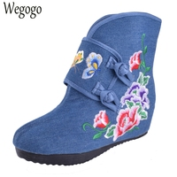 Chinese Women Embroidery Boots National Ethnic Double Butterfly Embroidered Boots Lady Flowers Increased Heel Winter Soft