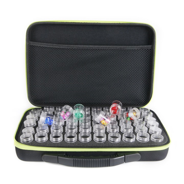 60 Bottles Diamond Painting Box Container Storage Full Square Carry Case Holder Storage Hand Bag Zipper Design Shockproof