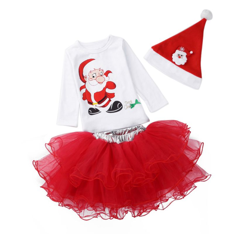 New Year Christmas Children Clothing Sets Baby Girl Cartoon Santa Claus Hat+T-shirt+Skirt 3 Pcs Suits Kids Party Costume