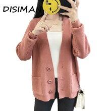 дешево!  DISIMAN кардиган женский розовый свитер женская зимняя одежда женская вязаная женская кофта кардиган