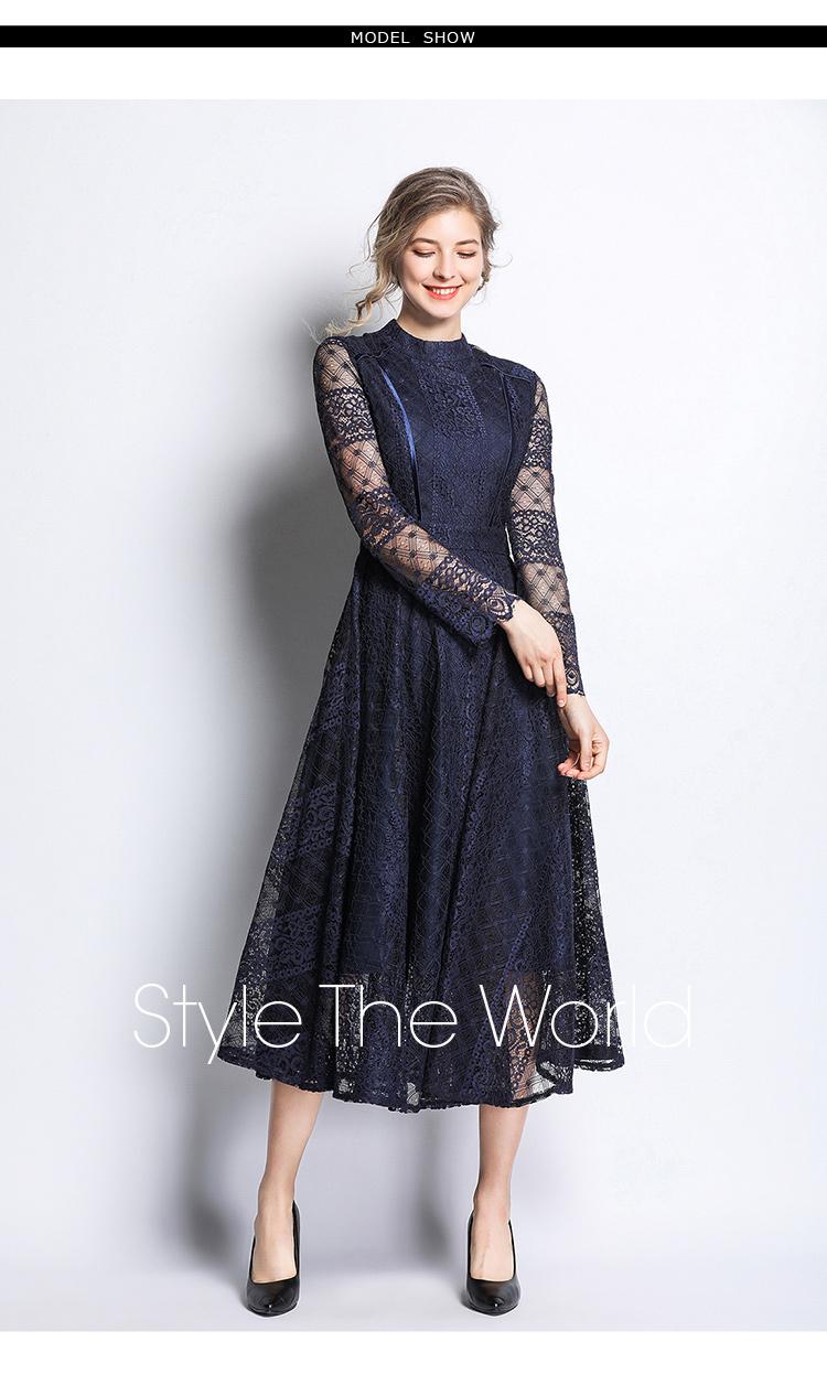 Dark Blue Lace Long Sleeve Retro Dress 1