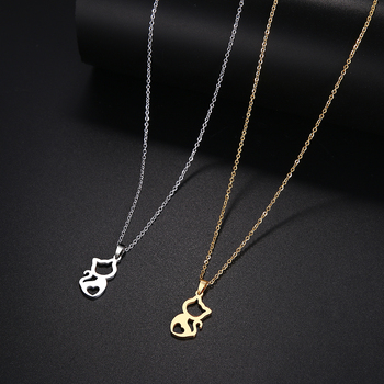 DOTIFI  Stainless Steel Necklace For Women Cute kitten Gold And Silver Color Pendant Necklace Engagement Jewelry 4