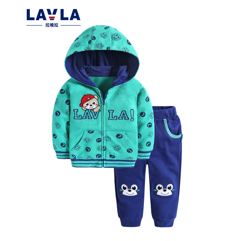 Lavla baby children clothing set boys girls zip up hoodie clothes spring Autumn cartoon100% cotton sports suit coat pants sets kids clothes sets wholesale spring and autumn boys sports leisure suit t shirt hoodie long pants free shipping in stock