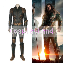 2017 Movie Justice League Arthur Curry Aquaman Cosplay Costumes Superhero Halloween Green Jumpsuit Costume