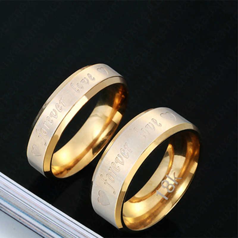 Auxauxme Нержавеющаясталь кольца Forever Love для пары ювелирные изделия из золота классические Lover, обручальные кольца, кольца Святого Валентина ювелирные Bague Bijoux (украшения своими руками)