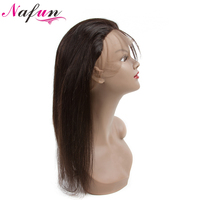 NAFUN Hair 360 Lace Frontal Closure With Baby Hair One Bundle Peruvian Straight Closure 100% Non Remy Natural Color Human Hair