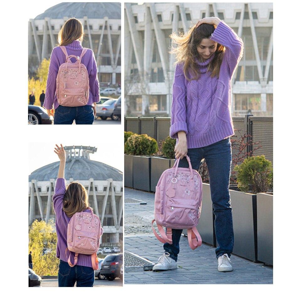 Flor princesa bordado mochila feminina 14