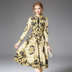 Women's Runway Shirt Dress Elegant Vintage Spring Autumn Jurken Christmas Robe Femme Buttons Long Sleeve Flower Dress Yellow 1