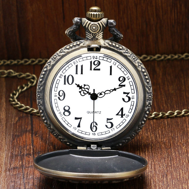 Vintage Bronze Deathe Note Pocket Watch with Chain Necklace