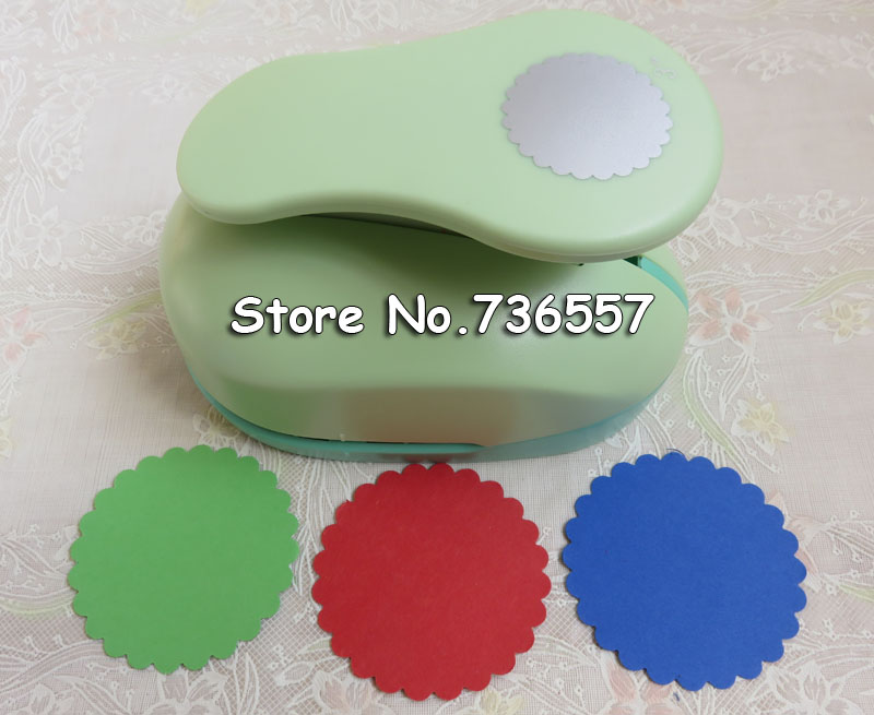 Free Ship Large 3''75mm Wave Circle Furador Paper Punches For Scrapbooking Craft Perfurador Diy Puncher Paper Circle Cutter