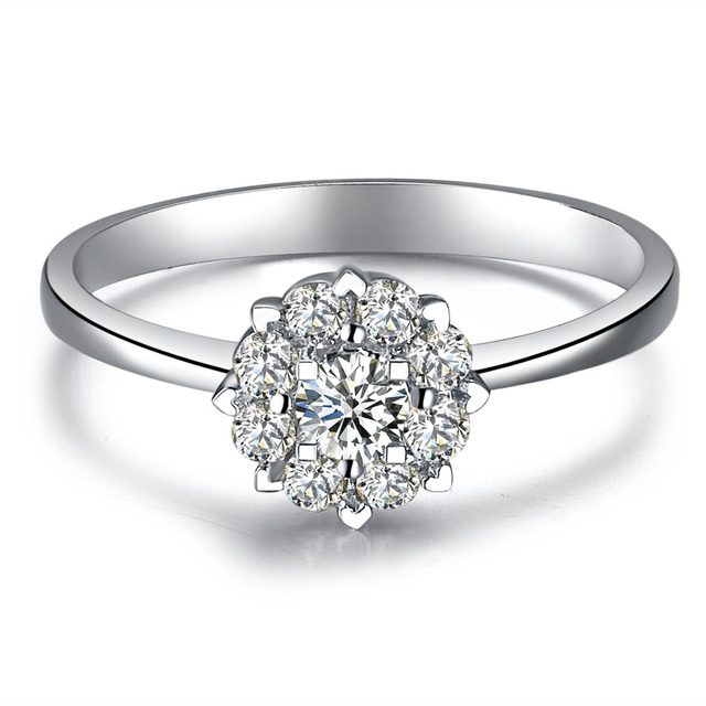 """ZOCAI DROWN IN LOVE """"1.5 CARAT EFFECT"""" 0.3 CT CERTIFIED I-J / SI DIAMOND ENGAGEMENT RING ROUND CUT 18K WHITE GOLD"""