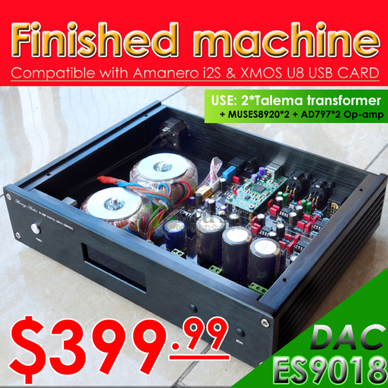Prix pour Haut de gamme version! ES9018 DAC W/2x Talema transformateur + muses8920 AD797 Soutien XMOS/Amanero USB 32Bit/384 K/DSD Sortie