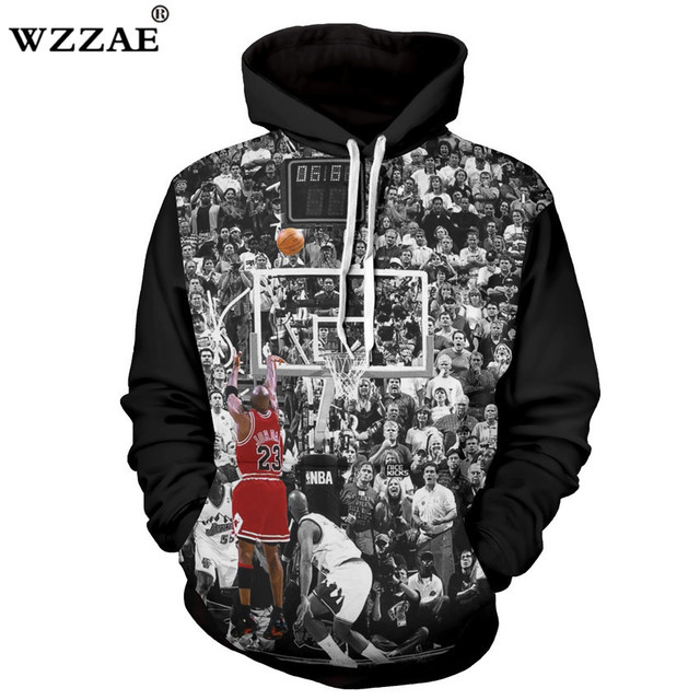 5e93bec50039 WZZAE Cool Hoodies 3D Print Michael Jordan Shoot A Buzzer Beater Graphic  Sweatshirt Mens Long Sleeve