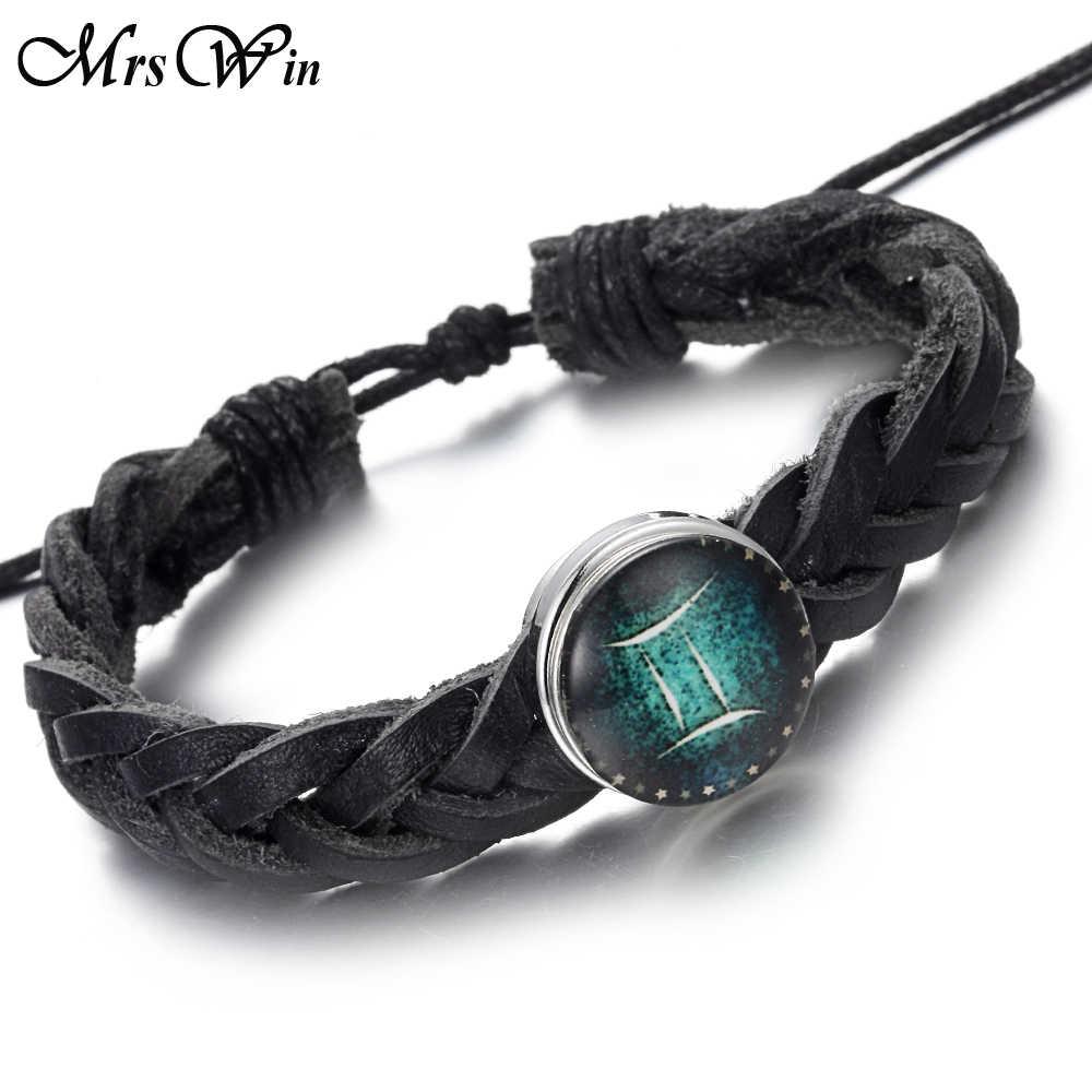 Zodiac Bracelet Black Braided Leather Bracelet Cancer Leo Taurus Capricorn  Scorpio Virgo Pisces 12 Constellation Bracelet