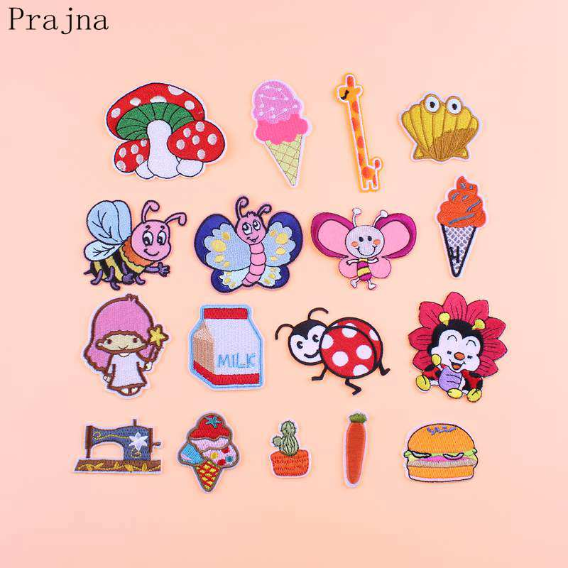 Prajna 1PCS Butterfly Bee Milk Patch IceCream Kids Iron On Cartoon Patches For Clothes Stickers Cheap Embroidered Cute Patches