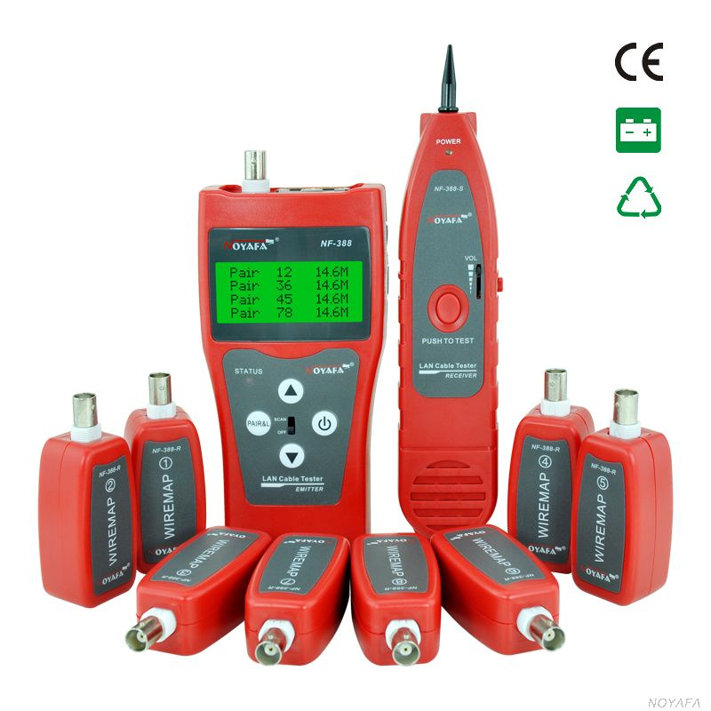 Free Shipping!! NOYAFA NF 388 Network Cable Tester Ethernet LAN Phone wire Tracker coaxial 8 Far end Jacks USB