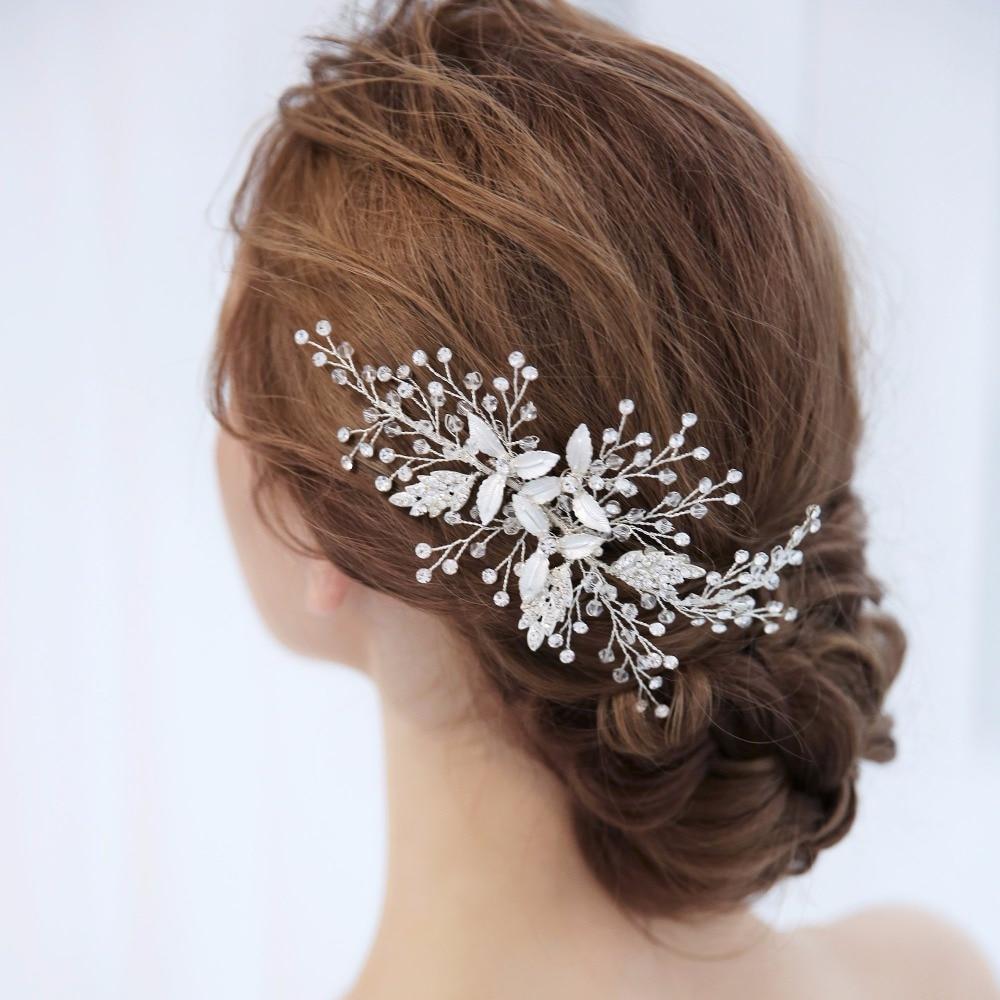 Wedding Headpiece For 2018: Crystal And Rhinestone Bridal Hair Comb Handmade Flower
