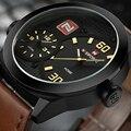 NAVIFORCE Moda Relógios de Quartzo de Couro dos homens Duplo Fuso Horário relógio de Pulso Relogio masculino Relógio Esportivo Masculino relógio de Pulso Militar