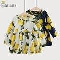 2017 Новая Мода детская одежда Весна Лето С Длинным Рукавом Цветочный Печатных Детская Одежда Наряды короткие Девочек Платья