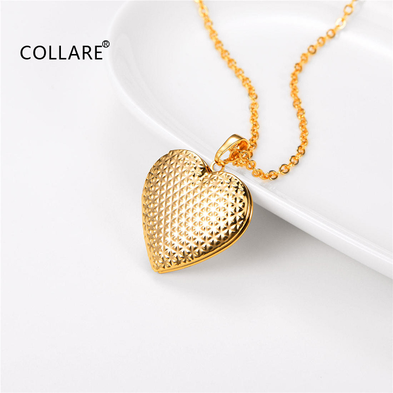 Collare Heart Locket Necklace  Gold Pink Silver Color Stainless Steel Girl friend Gift Fashion Chain Neckalace P299 locket